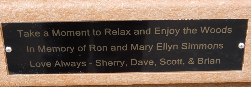 Plaque honoring Ron and Mary Ellen Simmons