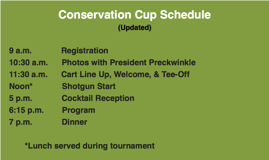 Conservation Cup 2018 schedule