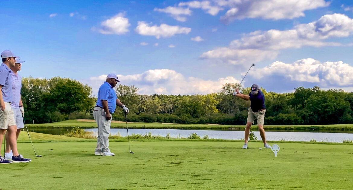Golfers enjoying a gorgeous day at the Forest Preserve Foundation Conservation Cup 2021
